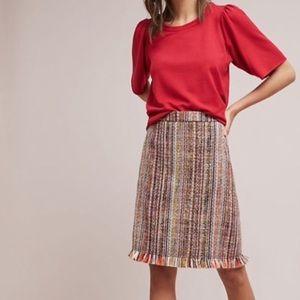 Anthropologie Maeve Zaire Tweed Fringe Skirt NWOT